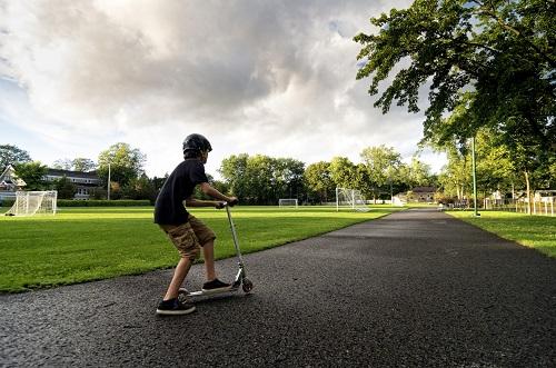kickscooter, kids, boys, children, helmet, park